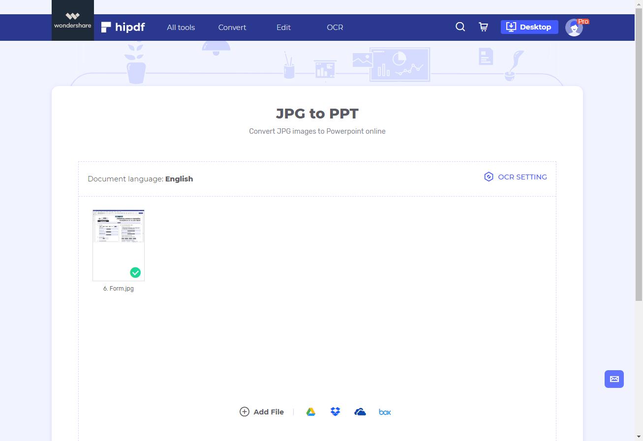 convert JPG to PPT online