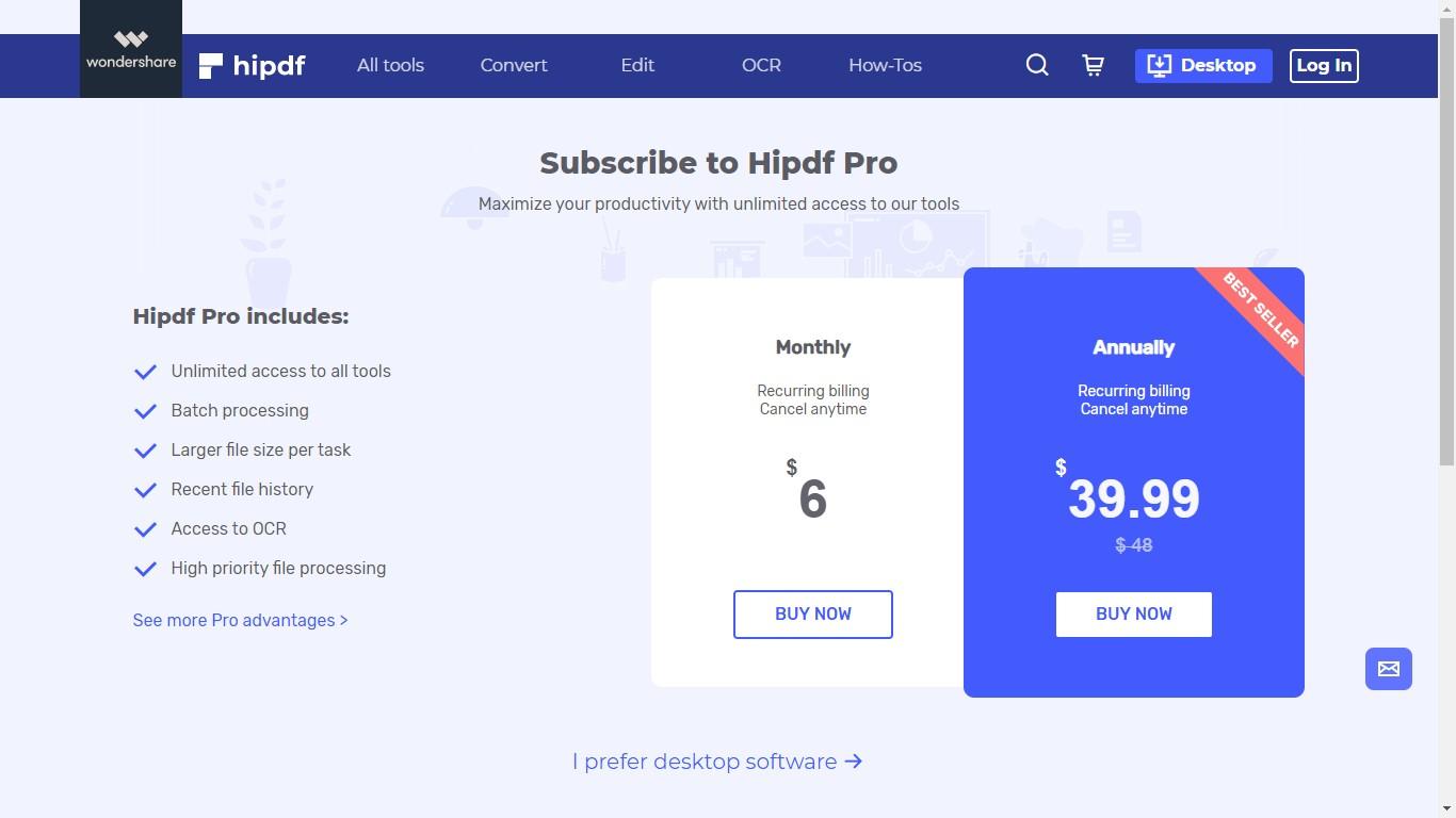 hipdf pro pricing