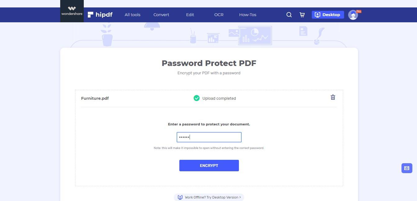 input password to pdf