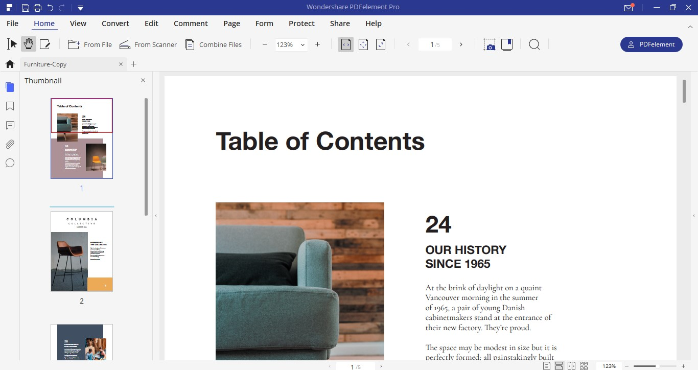 rearrange pages on pdfelement