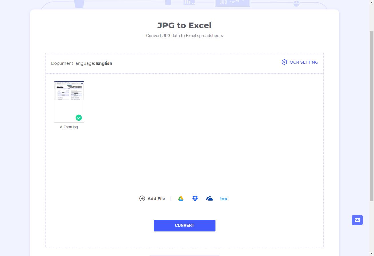 upload jpg to excel