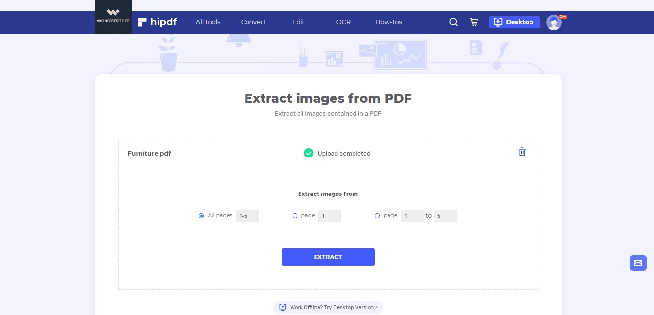 upload pdf to extract