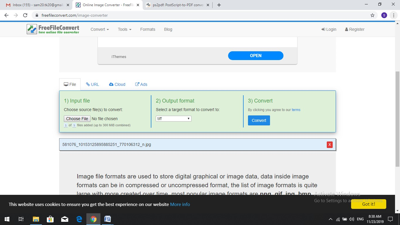 freefileconvert jpg to tiff converter