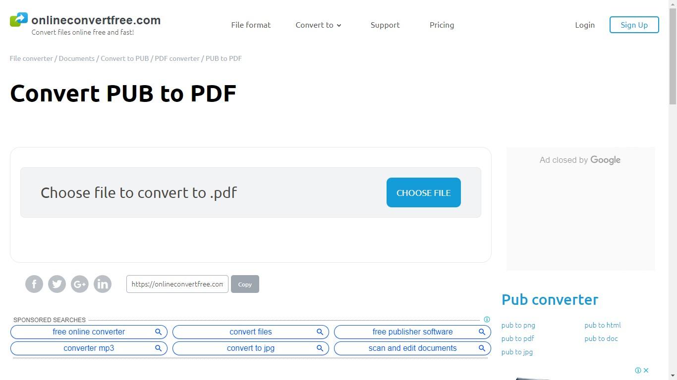 onlineconvertfree pub to pdf converter
