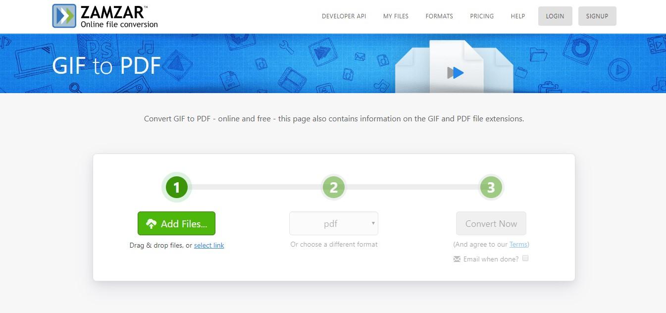 zamzar gif to pdf converter online