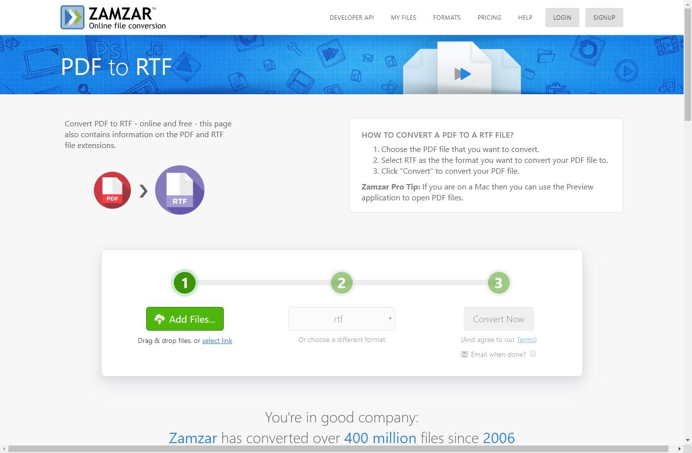 zamzar pdf to rtf converter online