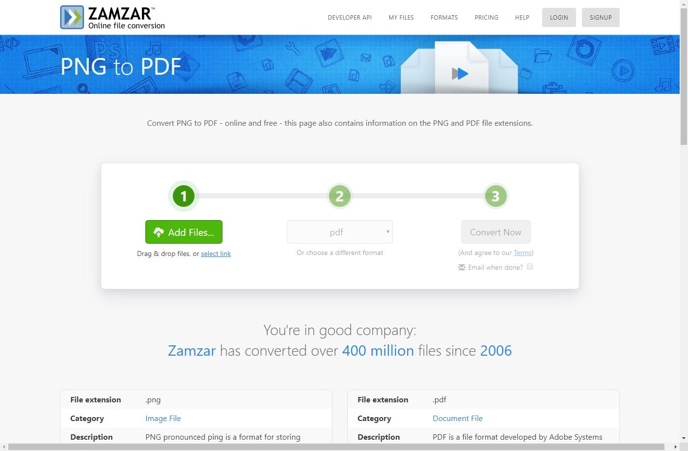 zamzar png to pdf converter online