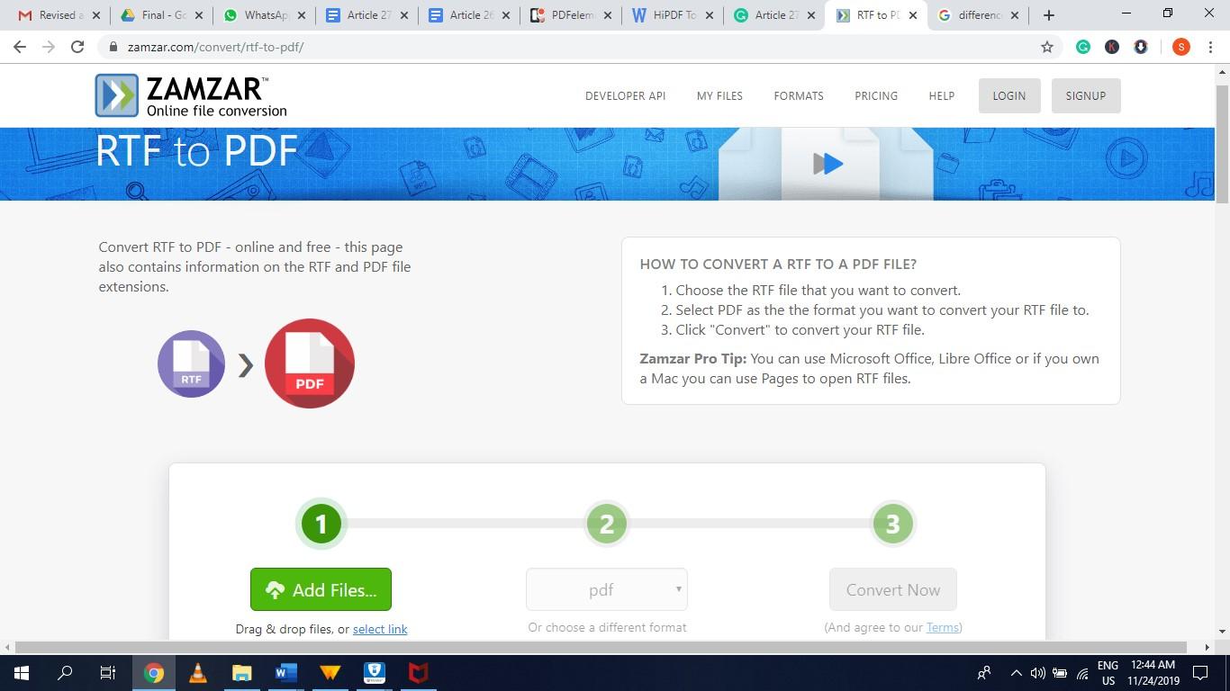 zamzar rtf to pdf converter online