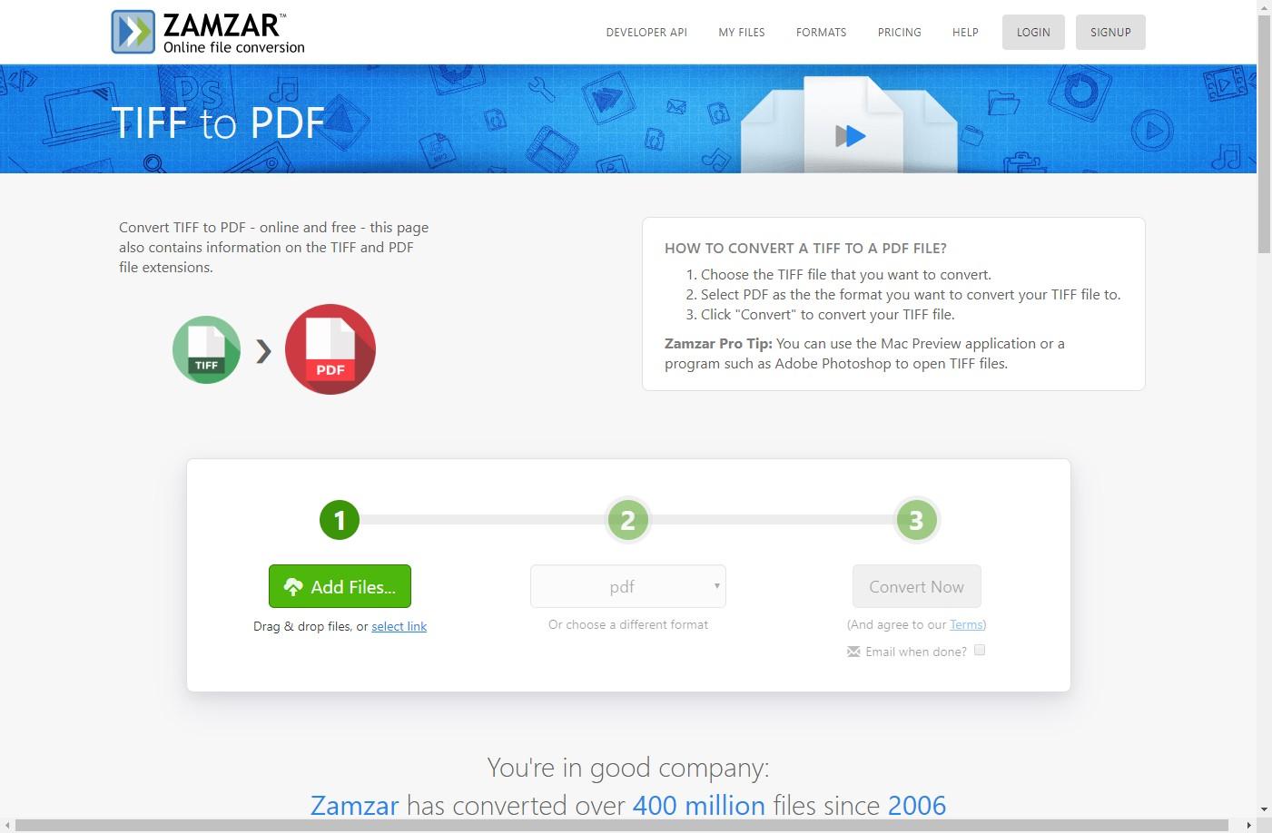zamzar tiff to pdf converter online
